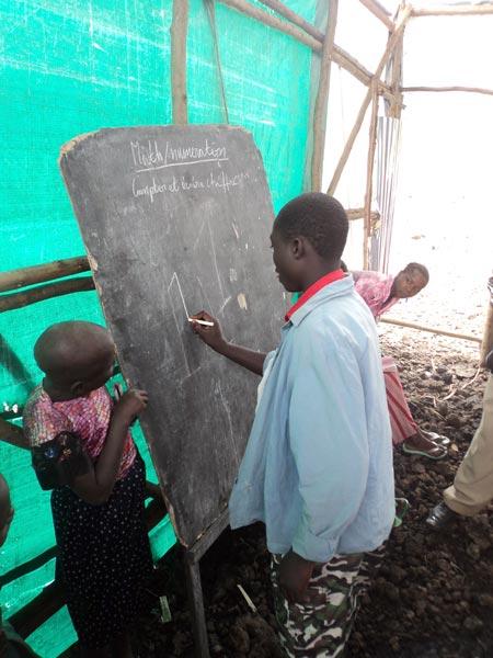Ecole d'urgence du Centre Kibati détruit depuis la dernière guerre en 2013